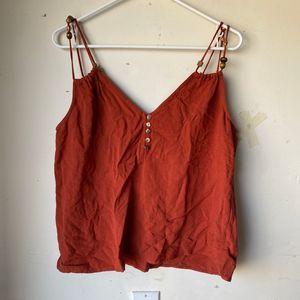 Zara women tank top large brick red